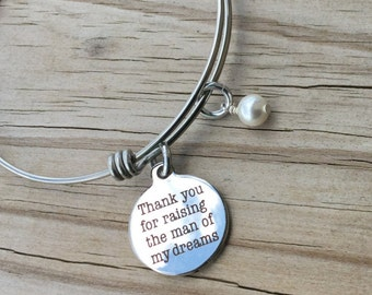 "Mother in Law Charm Bracelet- ""Thank you for raising the man of my dreams"" laser etched charm with an accent bead in your choice of colors"