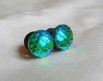 Mermaid Scale Plugs, Jewel Tones, for Gauged Ears Sizes 1/2 inch, 00g, 0G, 2G, Earrings