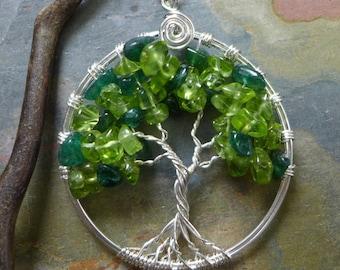 May Birthstone Jewelry,Green Tree of Life Necklace,Peridot/Dark Jade Tree of Life Pendant,MayAugust Birthstone Tree of Life Pendant Necklace