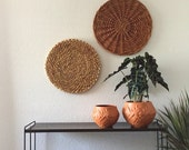 large pair of 2 circle wall wicker straw baskets / trivets
