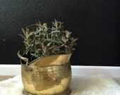 RESERVED // vintage hammered brass coal scuttle / planter with handle