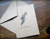 Entomology Card - Lacewing Larva - Hand Stamped - Blank with Envelope