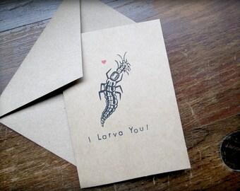 Entomology Card - Lacewing Larva - Hand Stamped - Blank with Envelope