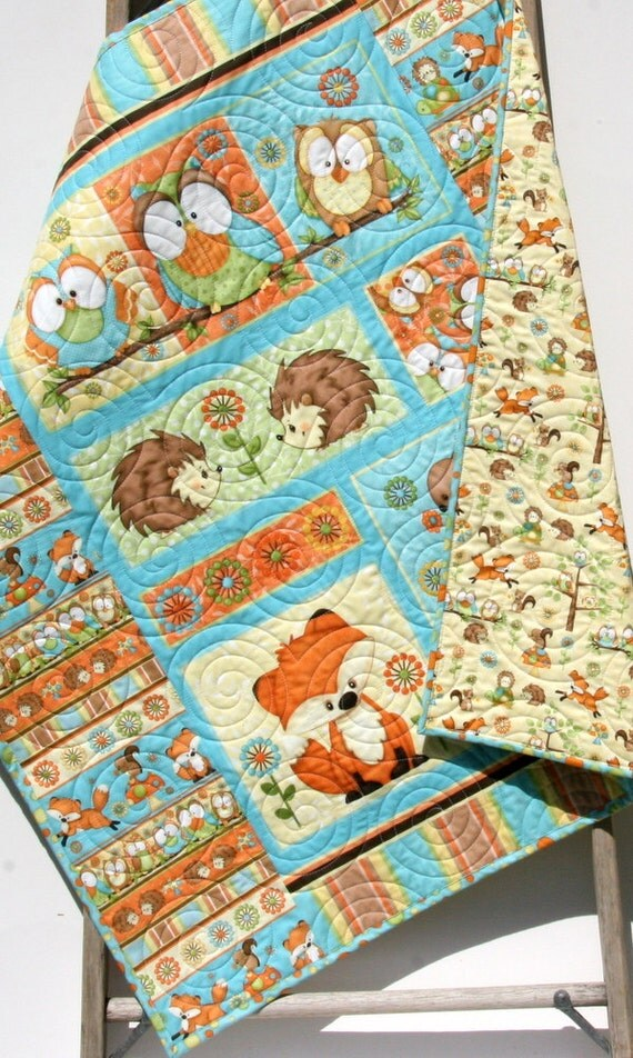 Baby Quilt Hooty Hoot Hooray Animals Nursery By