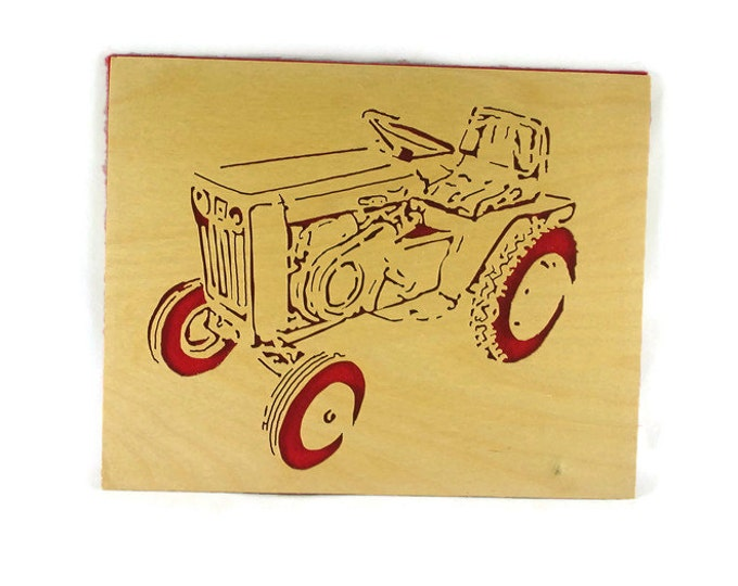 Wheel Horse Model 953 Garden Tractor Wood Portrait Handmade From Birch Wood By KevsKrafts