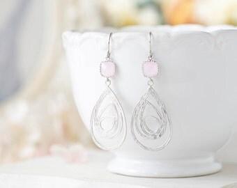 Silver and Pink Earrings, Silver Swirl Filigree Pink Glass Dangle Earrings. Pink Wedding Bridal Earrings, Bridesmaids Gift, Christmas Gift