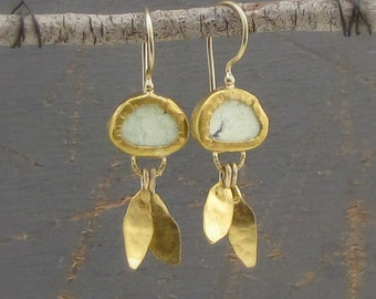 Lemon Jade Earrings - 24k Gold  Earrings - Dangle Gold & Lemon Jade Earrings