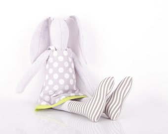 Softie light lilac stuffed bunny - rabbit doll in gray polka dots dress & socks - plush handmade fabric eco doll - plush nursery decor