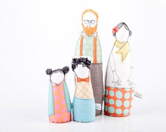 Family Portrait - Parents son and daughter dolls -Dressed in Pastel shades geometric, plaid & Floral . timo handmade Soft sculpture dolls