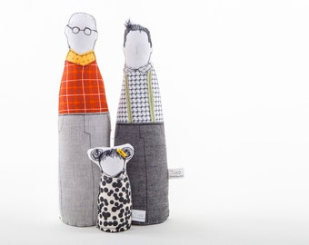 Gay family ,Proud family. Two fathers dolls dressed in plaid shirts gray red & little girl in  black white dotted dress Timo handmade dolls