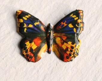 Butterfly Brooch ... Peacock Moth Vintage Metal Enamel Red