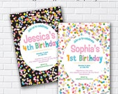 Rainbow Confetti Birthday Invitation for any age 1st 2nd 3rd 4th 5th 6th 7th kids party invite - card 994