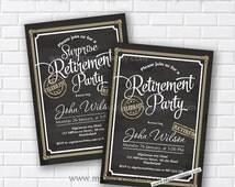 Retirement Invitations,  Retirement party Invitation,  Retirement Celebration retro vintage Invite, chalkboard blackboard design- card 562