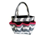 Grey Chevron Bingo Bag with Pink Trim // Craft Organizer // Makeup Organizer // Caddy // Teacher Tote // Nurse Tote