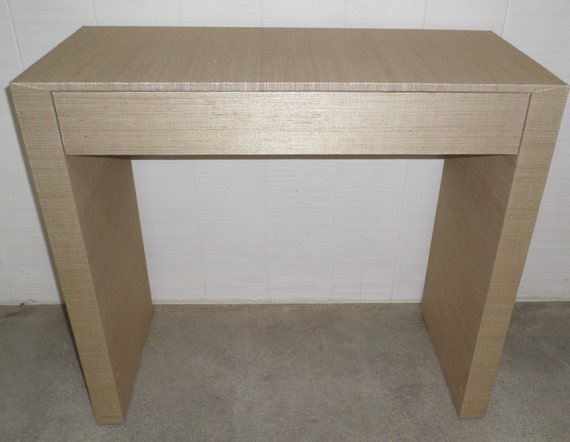 Grasscloth Wrapped Parson's Waterfall Desk/Table - Custom Built