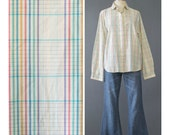 SALE - 70s Plaid Shirt - Cream Rainbow Plaid Blouse - 1970s Shirt - Peter Pan Collar Long Sleeve Button Down Indie Hipster Oxford Shirt