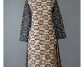 Vintage Black Lace Dress - 60s Cocktail Dress - Lace Illusion Dress - Scalloped Lace dress - Bell Sleeve Shift Dress - 1960s Evening Dress