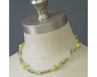 Beaded Glass Necklace Choker Necklace Yellow Mint Green Wood Beaded Necklace Multistrand Necklace Boho Bohemian Jewelry