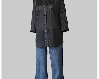 Black Blouse - 70s Blouse - Tuxedo Shirt - Asian Style Mandarin Collar Top - Black Satin Blouse - Black Chiffon Blouse - 1970s Blouse