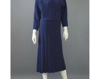 Vintage 1940s Sweater Dress - Blue Wool Dress - Kimberly Sweater & Skirt Knit Dress Set - Two Piece Navy Blue Dress - 40s Sweater Dress - M