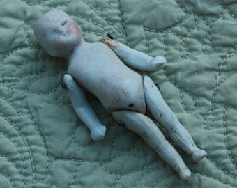 """3"""" Doll Antique Porcelain German with Serious face"""