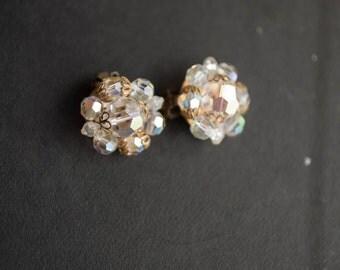 Aurora Borealis Crystal Bead Earrings Clip On AB Cluster Vintage Wedding Bridal jewelry