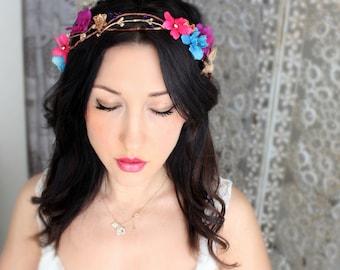 Boho Bold & Gold flower crown, wedding accessory, bridal headpiece, wedding flower crown, bohemian, wedding headband, bridal hair