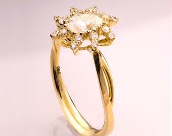 Oval Moissanite Engagement Ring, Forever One Moissanite engagement ring,Moissanite ring, Forever Brilliant Moissanite Ring, Forever One
