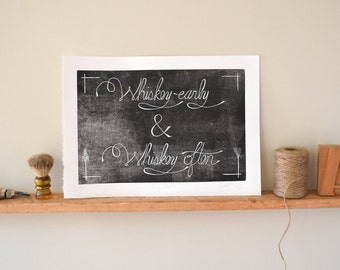 Boyfriend gift, Whiskey Gift Wall Art Linocut Print Whiskey, Bar Art, Husband