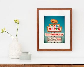 Austin Texas Wall Art | Top Notch Hamburgers Sign Print | Retro Kitchen Wall Art | Diner Decor | Restaurant Sign | Retro Kitchen Decor