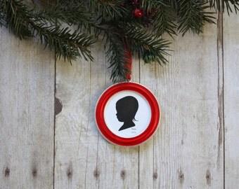 Custom silhouette red frame ornament