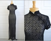 1990s Sheer Black Asian Style Dress