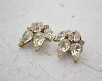 1950s Austrian Rhinestone Clip Earrings