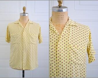 1940s Sachs Yellow Print Rayon Shirt