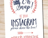 Oh Snap Instagram Navy and Coral Wedding Sign 8x10 printable wedding sign - printable digital file