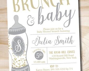 Brunch and Baby Shower Invitation, Confetti Glitter Baby Bottle Shower Invitation - Printable digital file or printed invitations