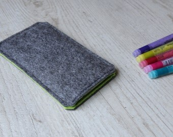 Galaxy S8+, S8, Galaxy S7 edge, S7, Galaxy A7, A5, A3 case sleeve pouch handmade dark felt and green