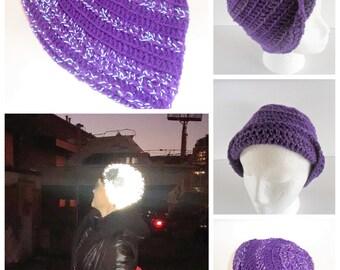 Reflective Beanie, Purple Reflective Yarn Beanie, Light Reflective Beanie, Purple Beanie