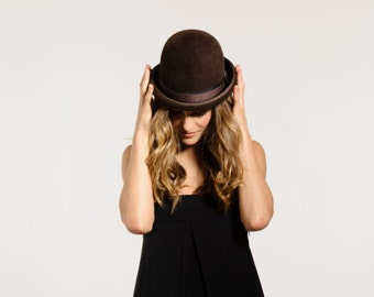 Felt Bowler Hat, Normcore, Womens, Fall, Winter, Felt Hat, Chocolate