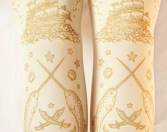 S M Pirate Tights Narwhals Small Medium Gold on Antique Cream Ivory Pale Beige Ecru Women Nautical Lolita Tattoo Sailor