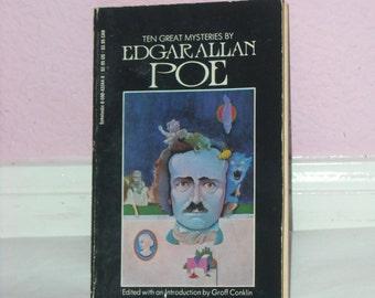 Vintage Edgar Allan Poe Book Ten Great Mysteries by Edgar Allan Poe Paperback Book Gothic Goth Vintage 1980s Mystery Book Halloween Decor