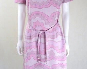 Original Vintage 1960s Baby Pink Wave Print Dress