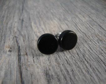 Black Wooden Stud / Post Earrings - Ebony Wood - Dark Black - Great Gift Idea