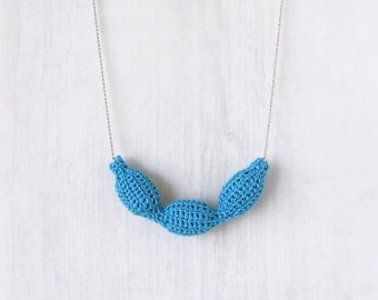Necklace azure blue with handmade tube pendant, minimalist fiber bead necklace silver ball chain, textile crochet jewelry personalized color