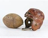 Vintage Leather Football Helmet, Dog Ear Football Helmet, 1900's Leather Football Helmet, Old Football Helmet, Vintage Sports Equipment