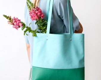 SPRING SALE Emerald & Turquoise Leather Tote bag No. TLH-101