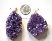 Amethyst Druzy Pendant, Gold Dipped Amethyst, Large Amethyst Pendant, Gold Electroplate