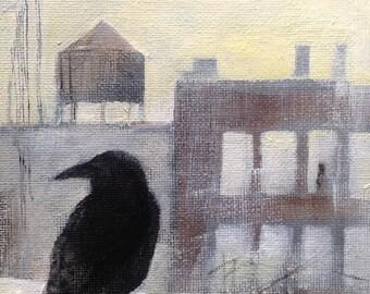 "City Crow painting 7"" x 5"""