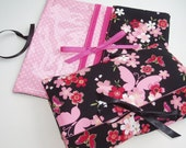 Best Friend Birthday Gift Butterfly Make Up Bag Black and Pink Floral