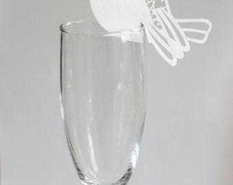 White Bird Hearts Laser Cut Place Card Glass Decor 10 or 20 / Wine Glass Decor / Wedding / Anniversary / Birthday / Shower